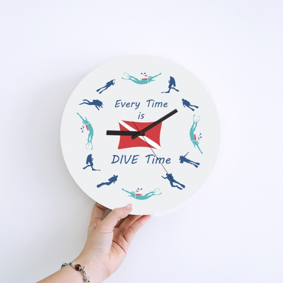 Wall Clock Gifts for Scuba Divers - Dive Time