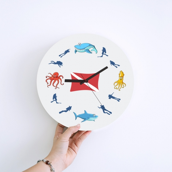 Wall Clock Gifts for Scuba Divers - Dive Flag