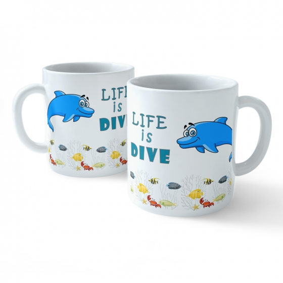 Funny Coffee Mug - My Buddy is Marine Life (Dolfin)