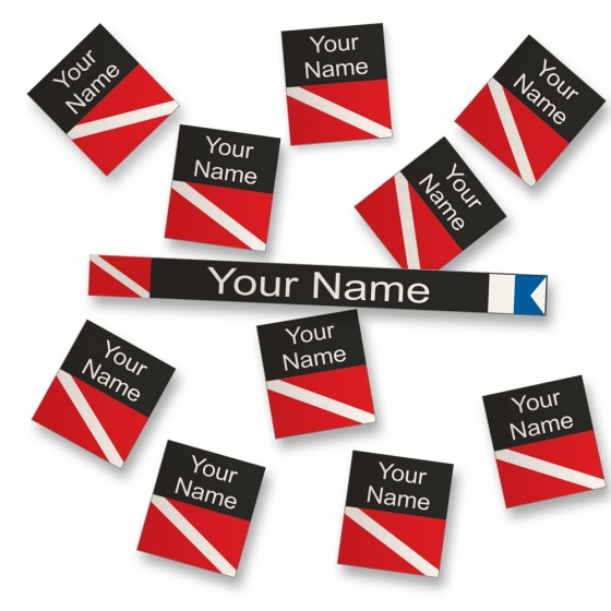 Personalized Sticker Labels for Diving Gear Identification - Black