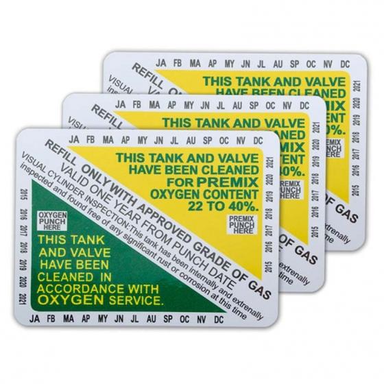 Nitrox Clean Tank & Valve Inspection Certification Sticker
